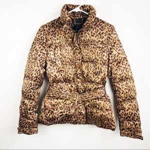 Zara | Animal Leopard Print Belted Puffer Jacket